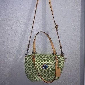 Green Coach purse/crossbody satchel